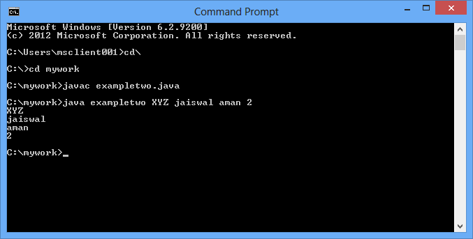 Passing arguments using Command Line in Java