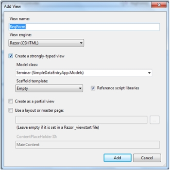 Creating a simple data entry application using Asp.Net MVC 4