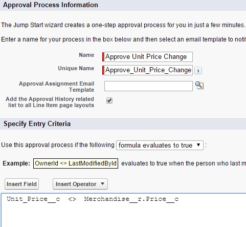 SFDC: Create an Approval Process