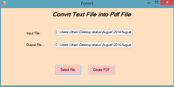Convert Text Document to PDF File