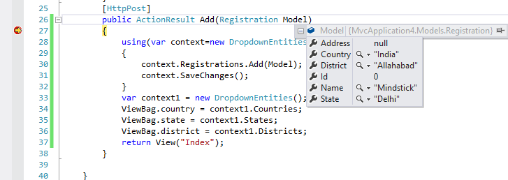 Passing multiple dropdown list values from view to controller and