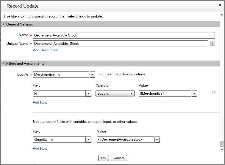 SFDC Flow: Add a Record Update element