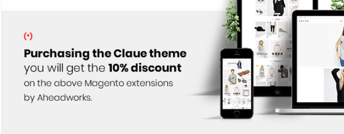 Enjoy 10% discount on best M2 extensions by Aheadworks when purchase Claue Theme