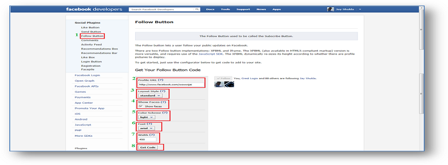 Implement Facebook Follow (Subscribe) button in your website