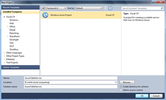 DML and DQL using Table Service in Windows Azure