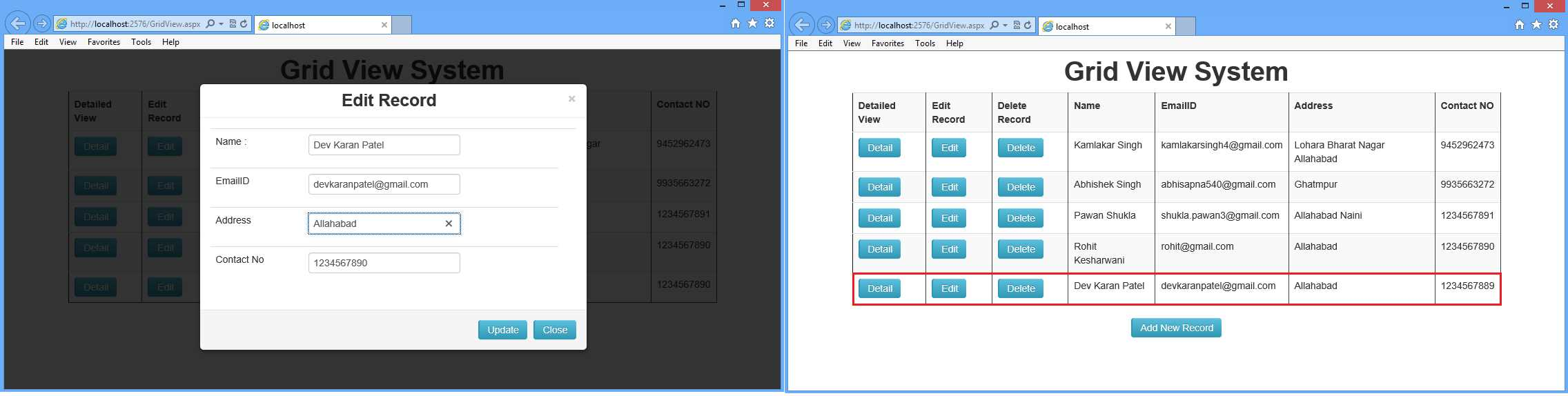 Editable Grid View System using BootStrap in ASP Net