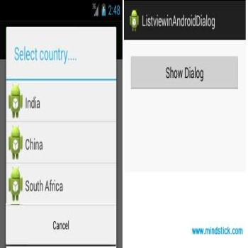 How to set listview in alert dialog on android