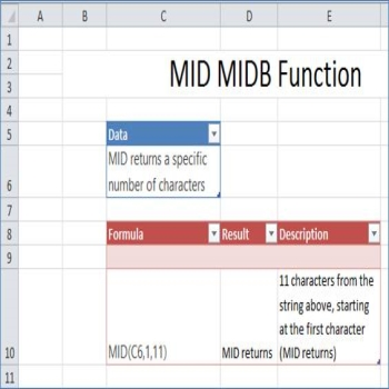 MID, MIDB functions in Excel
