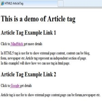 Article element in HTML5