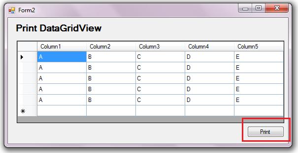 Datagridview Printing in C#