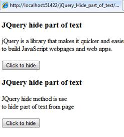 JQuery hide part of text