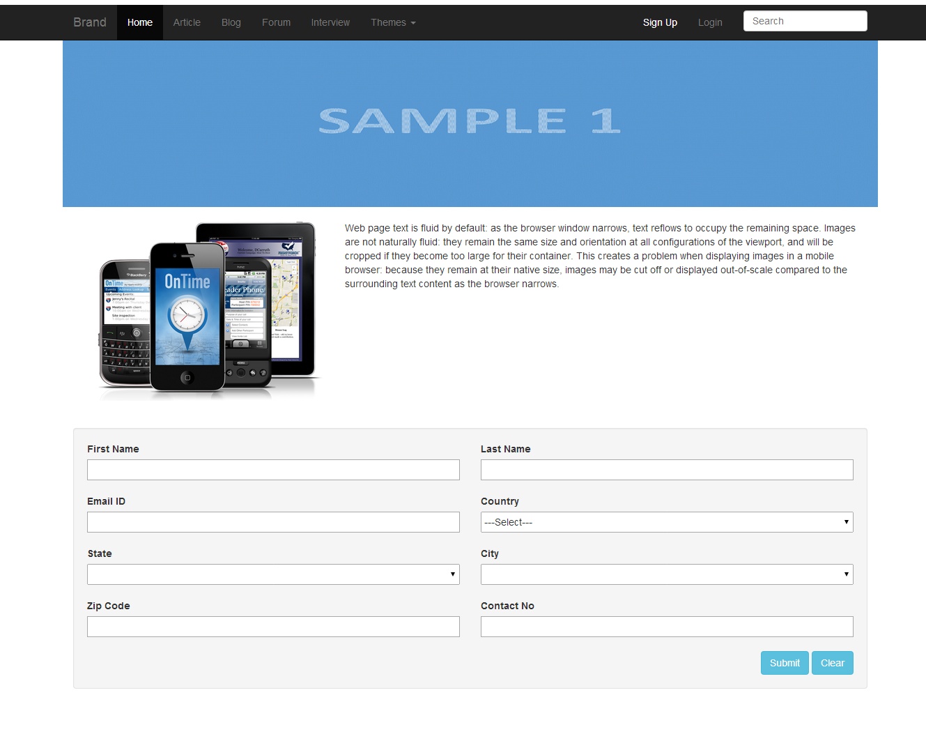 Responsive Layout using Bootstrap
