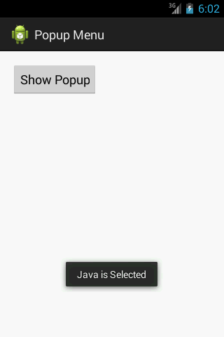 Show Simple Pop-up Menu in Android