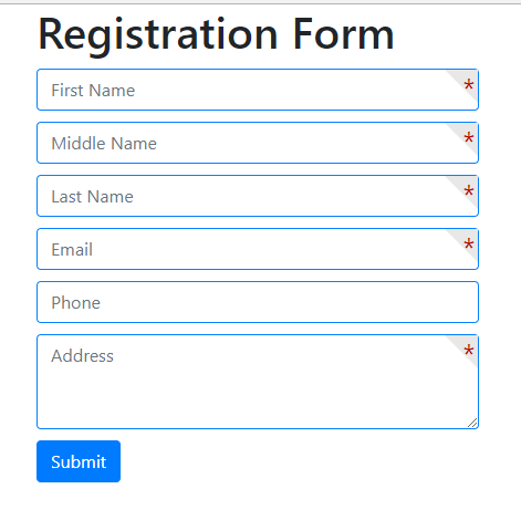 how to design a form with required field  stylish mark