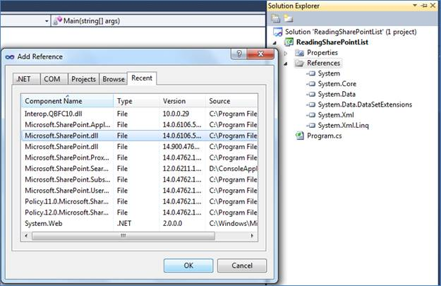 Create a list in SharePoint and Read list Data from SharePoint using C#