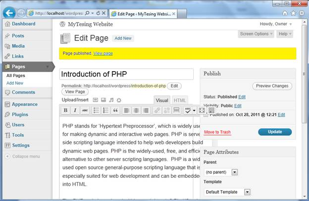 Creating and Using Pages in WordPress