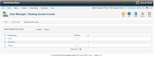 User Manager in Joomla