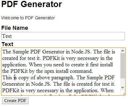 Generate PDF in Node JS
