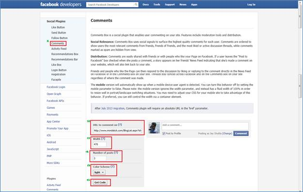 Integrated Facebook Comment API in your website