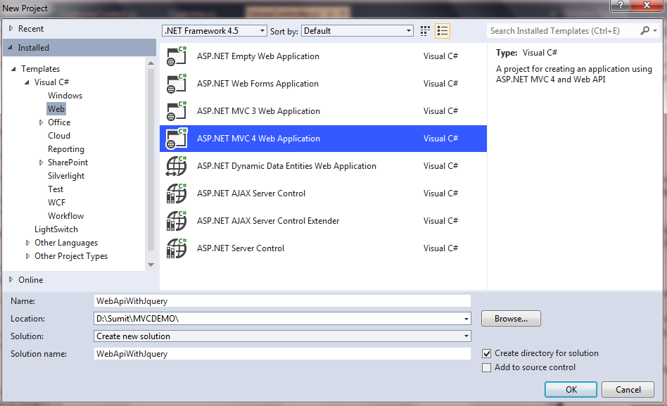 Calling Asp.Net Web API methods from Jquery in Asp.Net Mvc 4