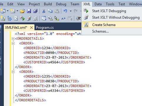 Creating XSD of a XML using Visual studio