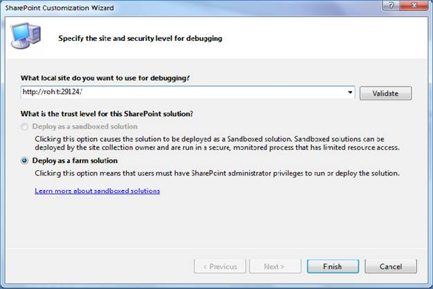 Create and Deploy Visual WebPart in SharePoint 2010