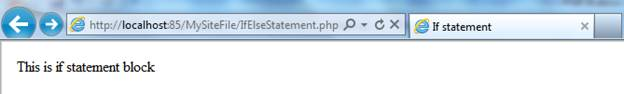 If…Else Statement in PHP