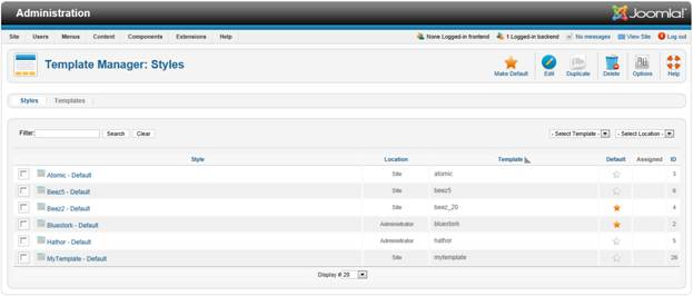 Template Manager in Joomla