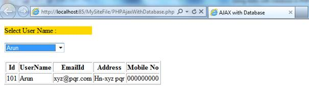 Using AJAX with Database in PHP