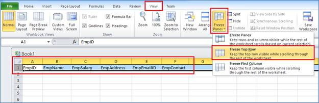 Freeze Panes in Excel