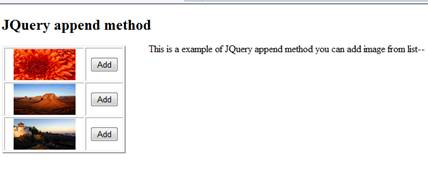 JQuery append method