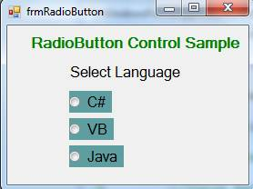 RadioButton Control in C#.Net