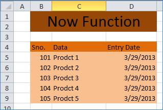 NOW Function in Excel