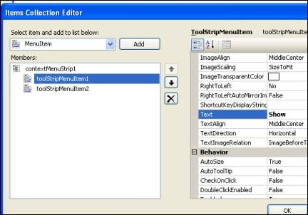 How to add a right click context menu to the tray icon