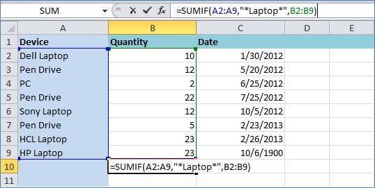 Sum Function in Excel