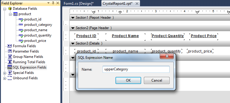 SqlExpression Field in Crystal Report