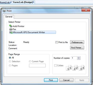 PrintDocument PrintPreviewDialog and PrintDialog Control in VB Net