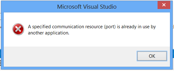 """A specified communication resources(port) is already in use"" when attaching the debugger"
