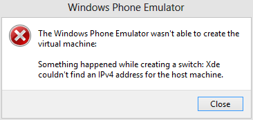 Something happened while creating a switch -Windows Phone 8 emulator error