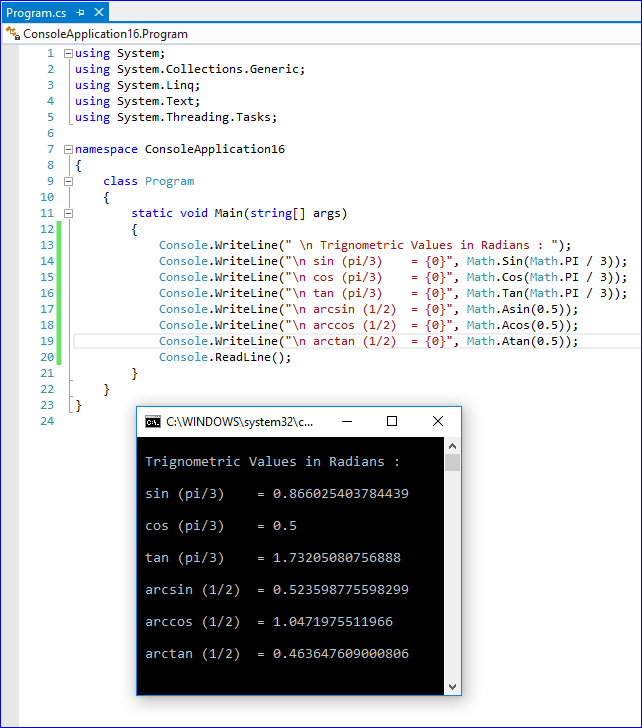 Write a Program to Illustrate Trigonometry Angles in Radians in C# ?
