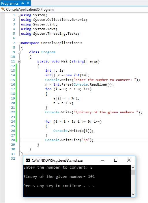 Please write a program for Decimal to Binary Conversion in c# ?