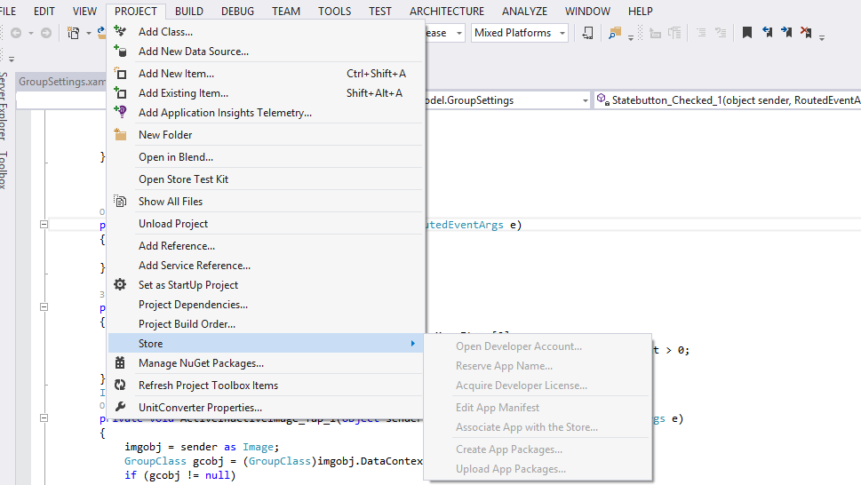 Store option disabled in My Visual Studio 2013 Ultimate