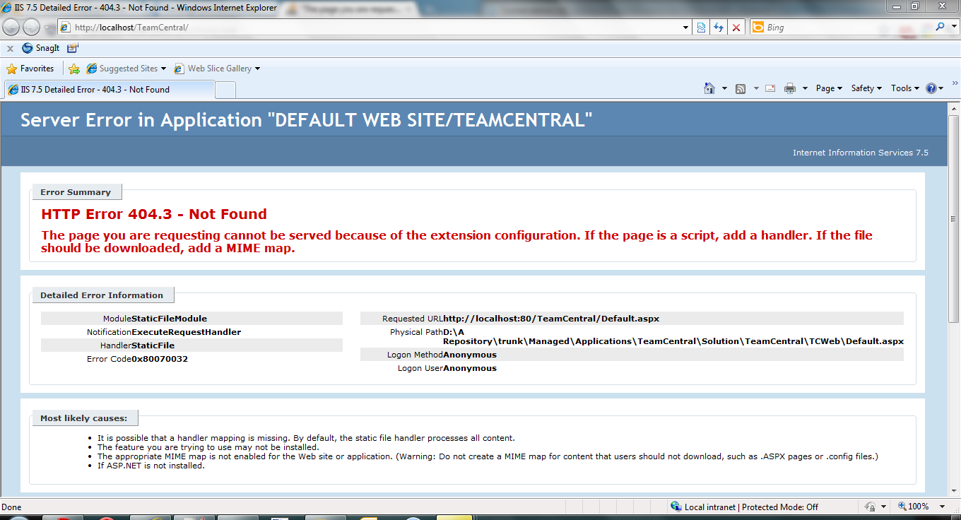 "Error message-""The page you are requesting cannot be served because of the extension configuration."""